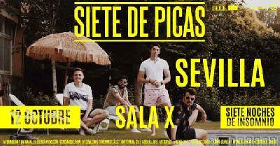 Cartel del concierto de Siete de Picas en la Sala X de Sevilla 2019
