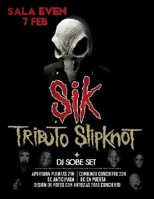 Cartel del concierto de SIK (tributo a Slipknot) en la Sala Even Sevilla 2020
