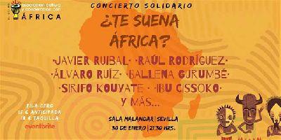 Cartel del concierto solidario ¿Te suena África? en Malandar Sevilla 2020