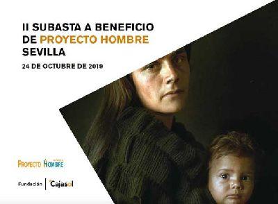 Cartel de la subasta a beneficio de Proyecto Hombre en Cajasol Sevilla 2019