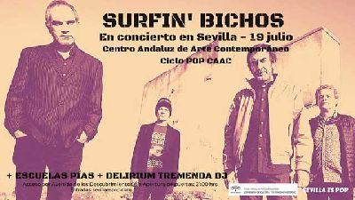 Cartel del concierto de Surfin' Bichos y Escuelas Pías en Pop CAAC Sevilla 2019