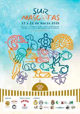 Cartel de Sur Mascotas 2020 en Fibes Sevilla, marzo de 2020