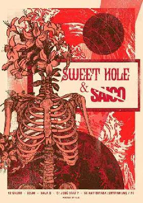 Cartel del concierto de Sweet Hole y Saico en la Sala X de Sevilla