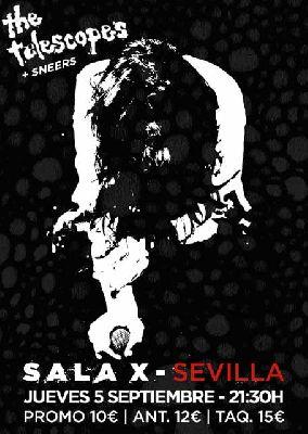 Cartel del concierto de The Telescopes y Sneers en la Sala X de Sevilla