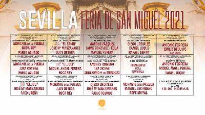 Cartel de la temporada 2021 de la Real Maestranza de Sevilla con todas las corridas