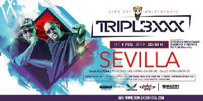 Cartel del concierto de Triple XXX en Custom Sevilla 2019