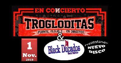 Cartel del concierto de Trogloditas y Black Ducados en Malandar Sevilla 2019