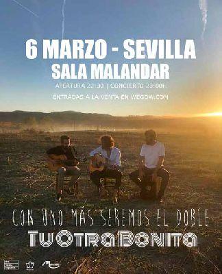 Cartel del concierto Tu otra bonita en Malandar Sevilla 2020