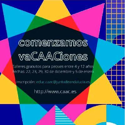 Cartel de los talleres familiares vaCAACiones 2020 en el CAAC Sevilla