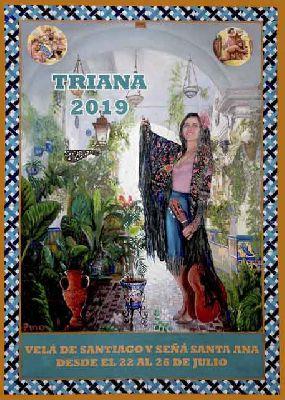 Cartel de la Velá de Santiago y Santa Ana de Triana de Sevilla 2019 de Laudino Pino