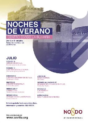 Cartel del ciclo Noches de verano en Palacio de la Buhaira de Sevilla 2019