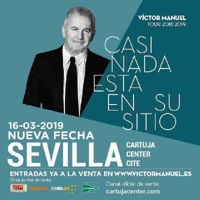 Cartel del concierto de Víctor Manuel en el Cartuja Center de Sevilla 2019