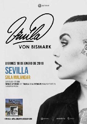 Cartel del concierto de Vinila Von Bismark en Malandar Sevilla 2019