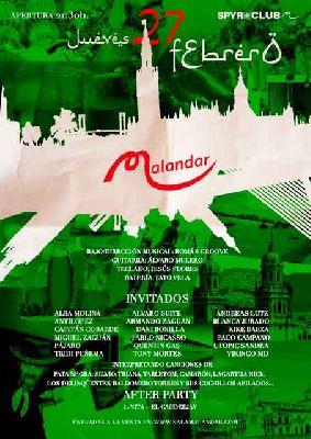 Cartel del concierto Víspera del Día de Andalucía en Malandar Sevilla 2020