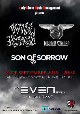 Cartel del concierto de Wild Krash, Pinball Wizard y Son Of Sorrow en la Sala Even Sevilla 2019