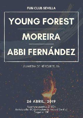Cartel del concierto de Young Forest, Moreira y Abbi Fernández en FunClub Sevilla 2019
