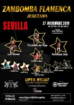 Cartel de Zambomba Flamenca Jerezana en Box Cartuja Sevilla 2019