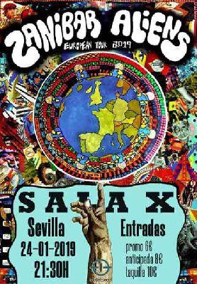 Cartel del concierto de Zanibar Aliens en la Sala X de Sevilla