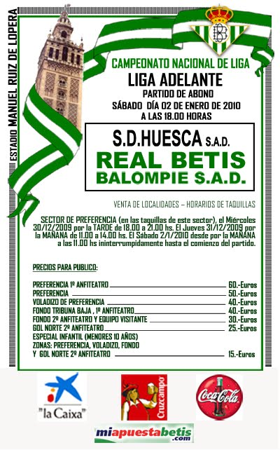 Cartel Real Betis - Huesca